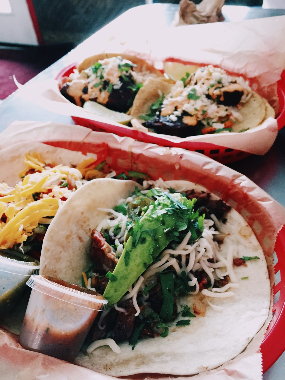 {close-up of some of the tacos.}