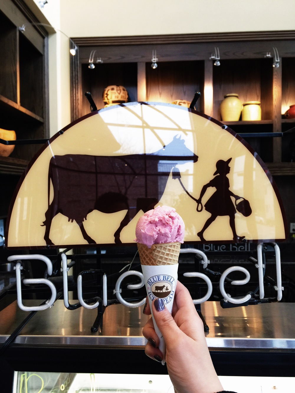 {the closest thing to bluebell creameries to us. java jive inside of our hotel! strawberry ice cream.}