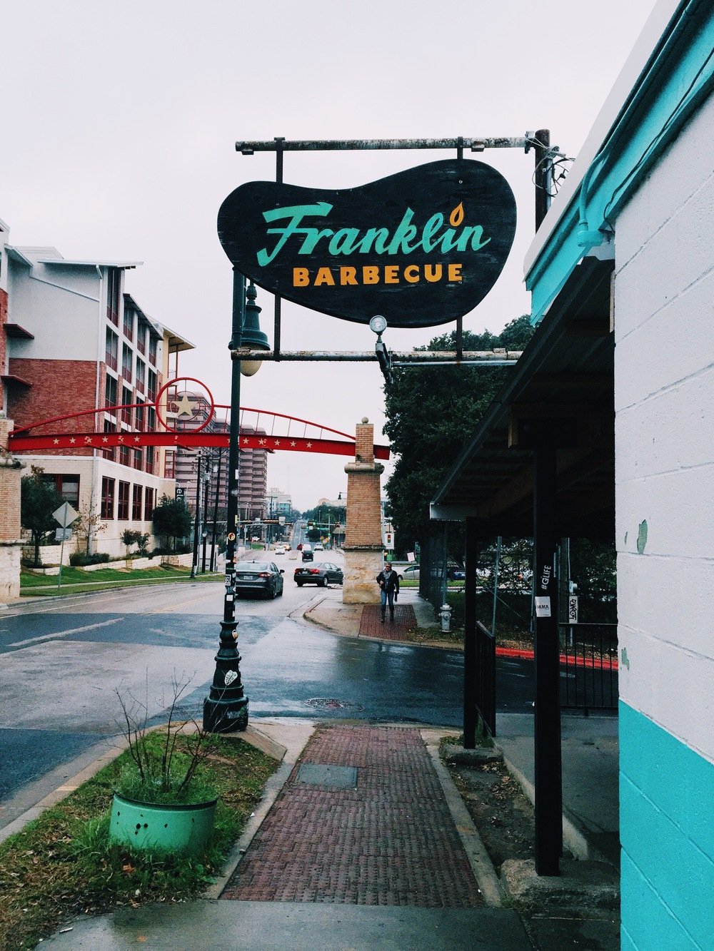 {an outdoor view of franklin bbq.}