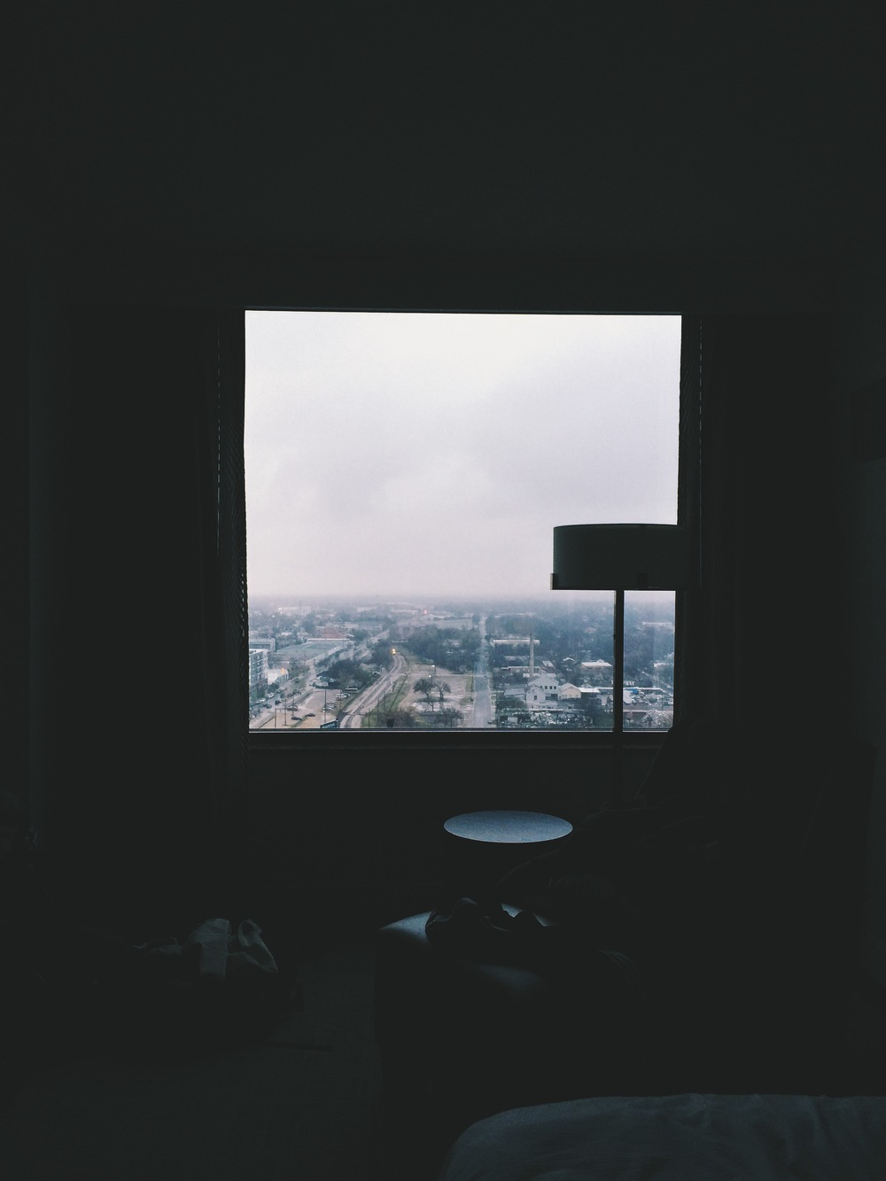 {inside looking out from our hotel room. wasn't much of a view, but the fog was nice this day.}