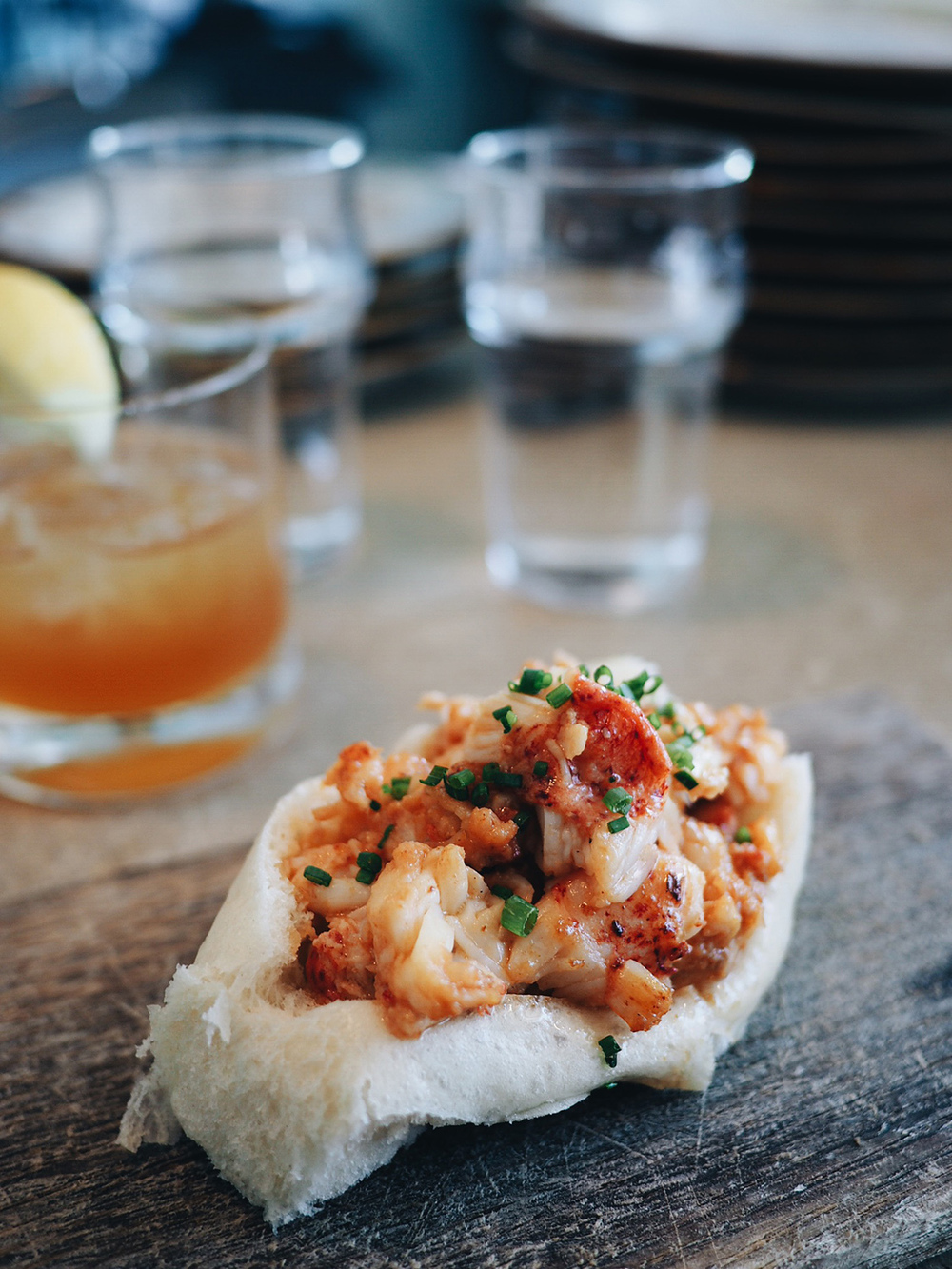 {Brown Butter Vinaigrette Lobster Roll.}