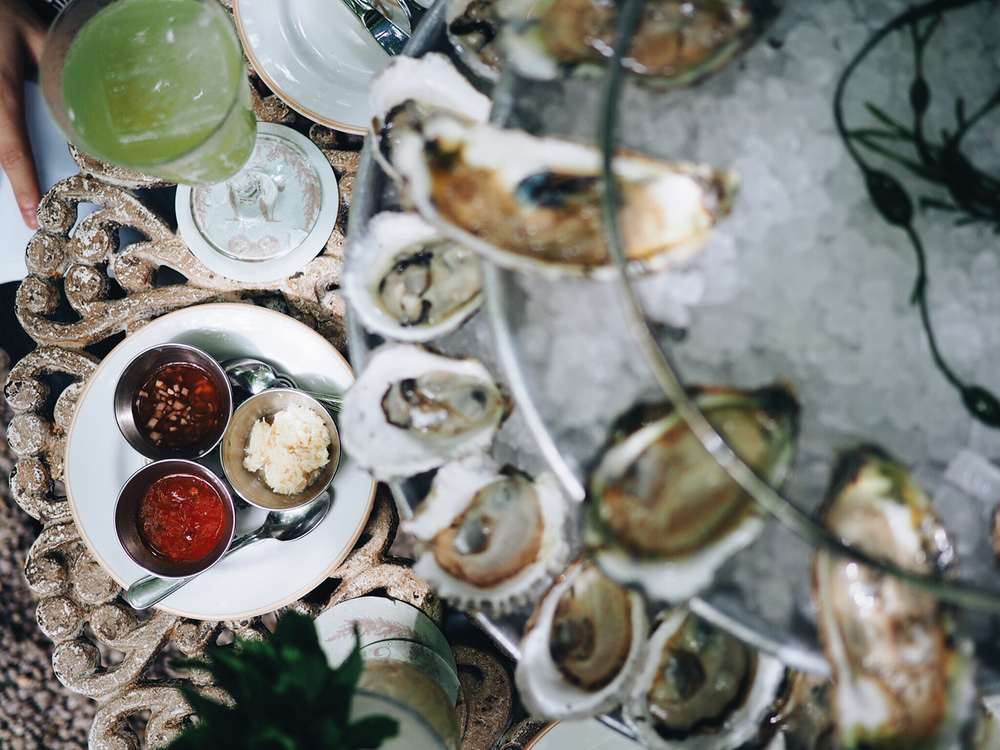 {Assortment of sauces for the oysters}