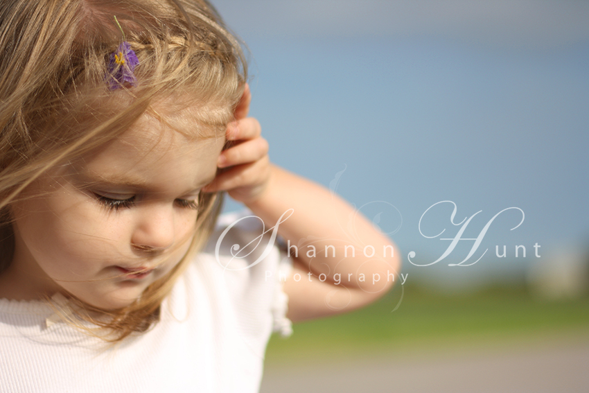 Toddler with flower in hair Portrait by photographer Shannon Hunt Temple, Texas (TX)