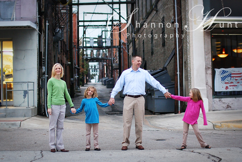 family downtown by Temple, TX family photographer