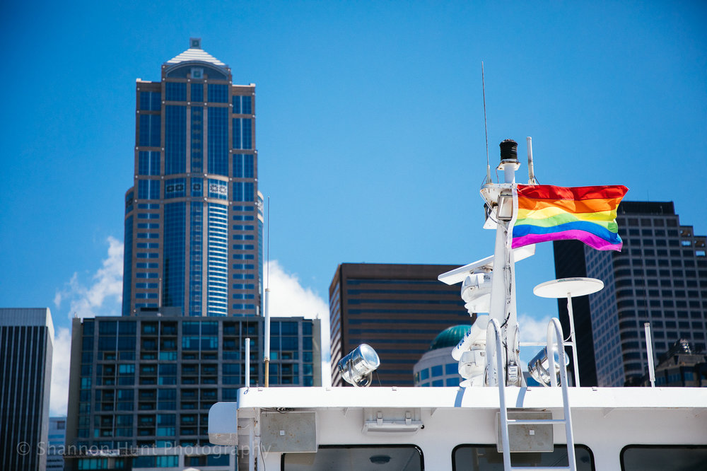 My friend and I took a boat tour on a non-rainy day in Seattle during Pride month. Pretty good combination.