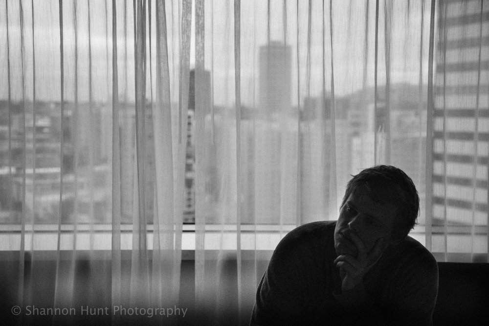 Deep in thought, 34 floors up.