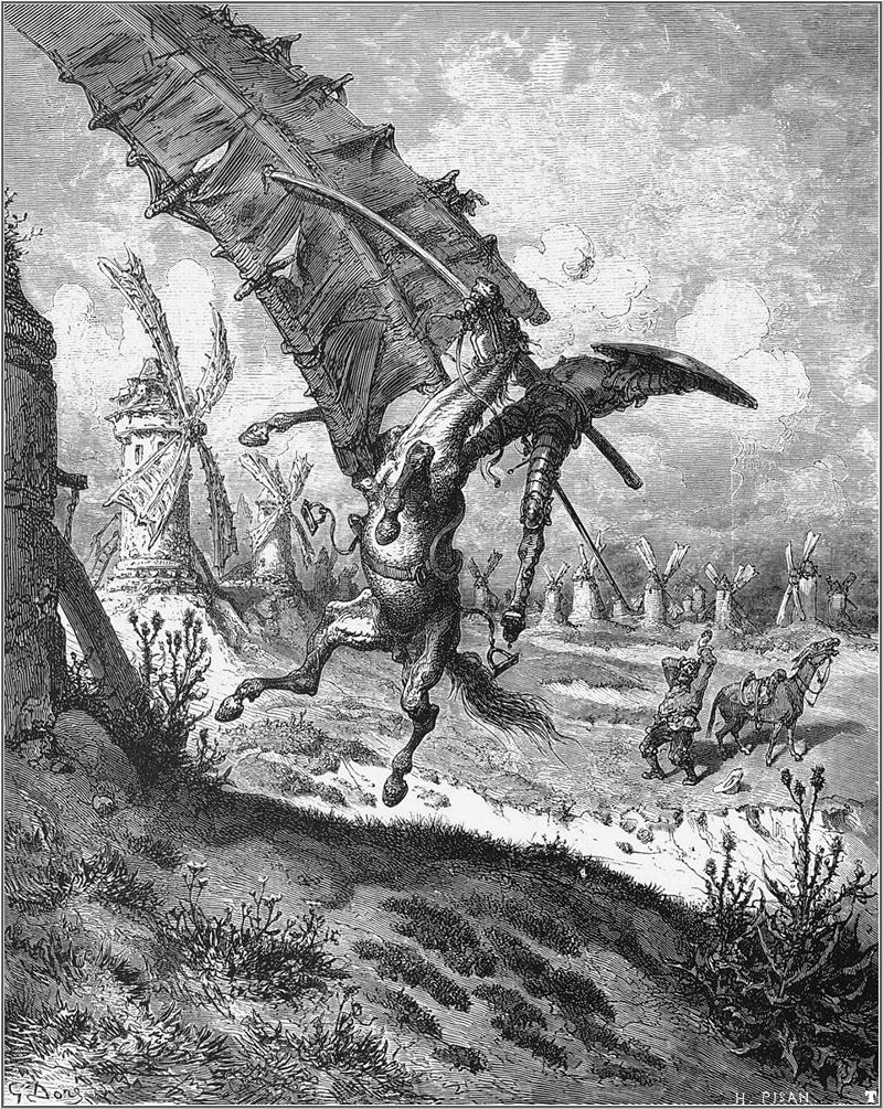 """Don Quixote 6"" by Gustave Doré - Illustration 6 for Miguel de Cervantes's ""Don Quixote"" by Gustave Doré, 1863.. Licensed under Public domain via Wikimedia Commons - http://commons.wikimedia.org/wiki/File:Don_Quixote_6.jpg#mediaviewer/File:Don_Quixote_6.jpg"