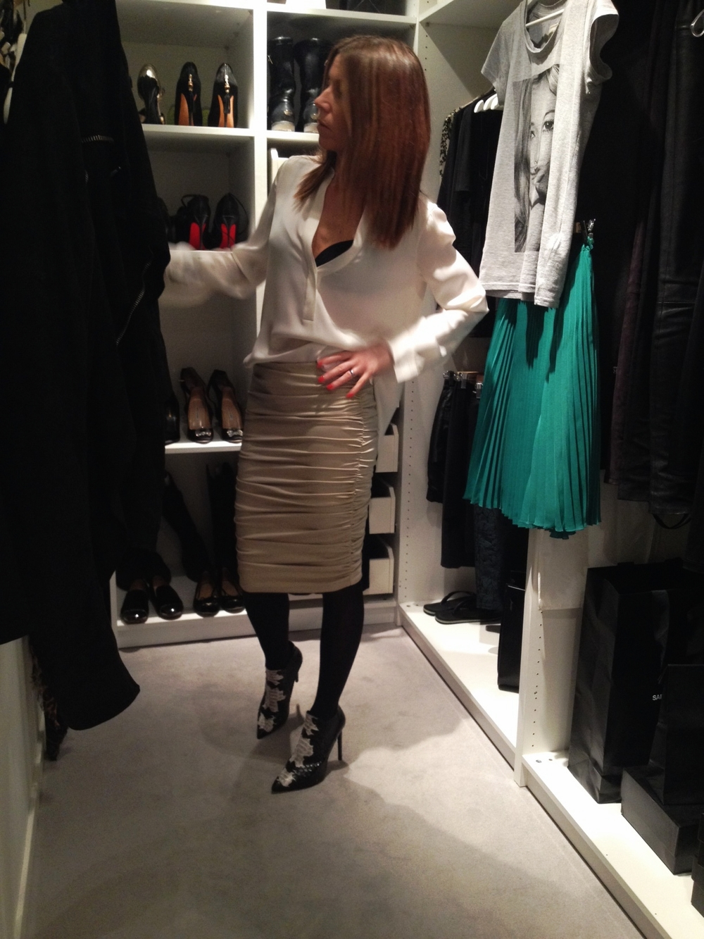 Meditationroom......  Shirt Vince // Skirt By Malene Birger // Shoes Saint Laurent