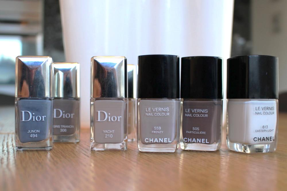 Her er noen få av de beige nyansene jeg har i kjøleskapet. Jeg ser at Chanel frenchy ser kaldere ut enn Yacht fra Dior, men på meg blir Frenzy et snev lilla.