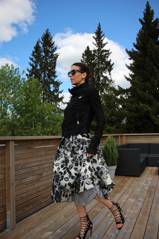 Jacket Rick Owens // Sandals Aquazzura // Skirt Baum und Pferdgarten // Top Helmut Lang