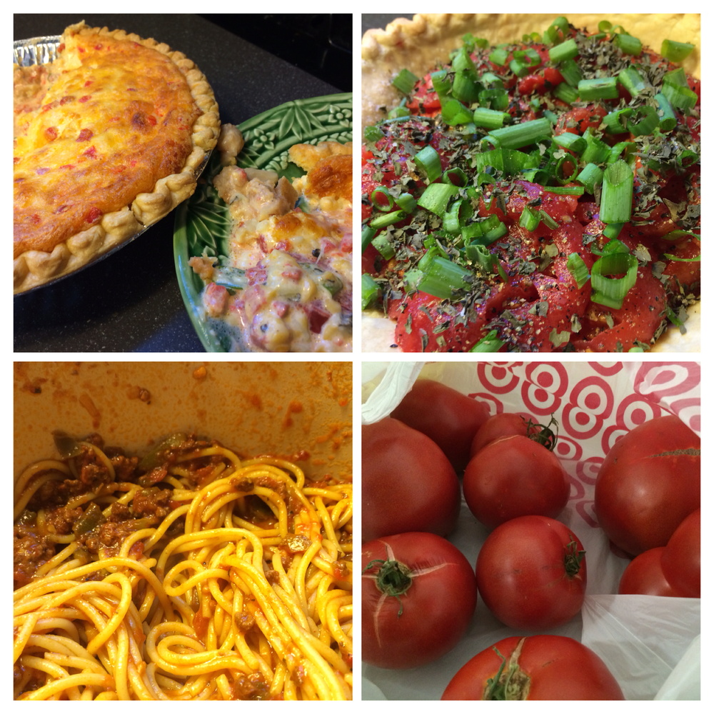 left to right, top to bottom; Tomato Pie after bake and pre-bake; Spaghetti and the jewels that made it all possible.