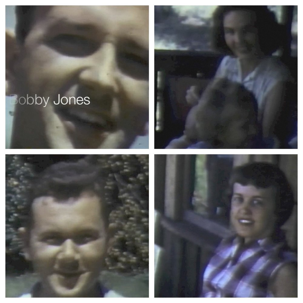 Pardon the fuzzy footage taken from the movie. Left to right, top to bottom: Bobby, Peggy, Daddy, Mama