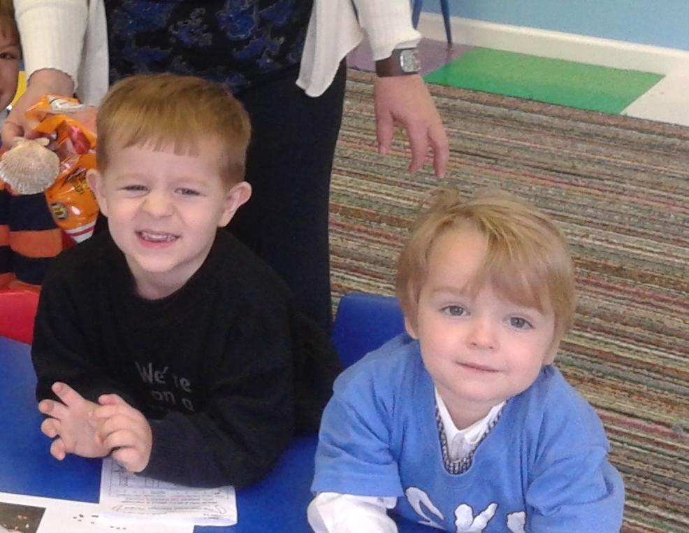 John and Wilkes having fun in the preschool class.