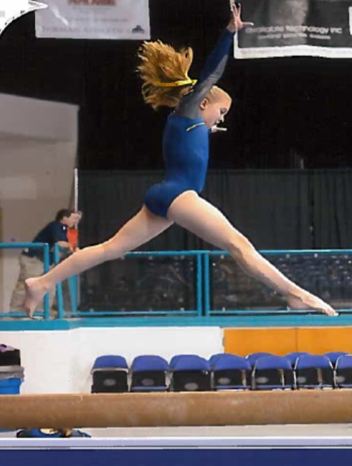 Ellie LeGette on the balance beam.