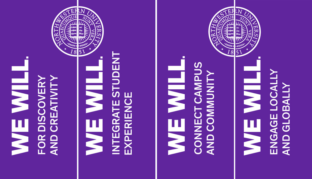 Digital Swag    Annually, Northwestern University celebrates its reunions.  This is a screen shot from the current web page, and the following set demonstrates the digital swag for the 2014 reunions, including images for users to download as iPad screensavers or to display on their social media sites.