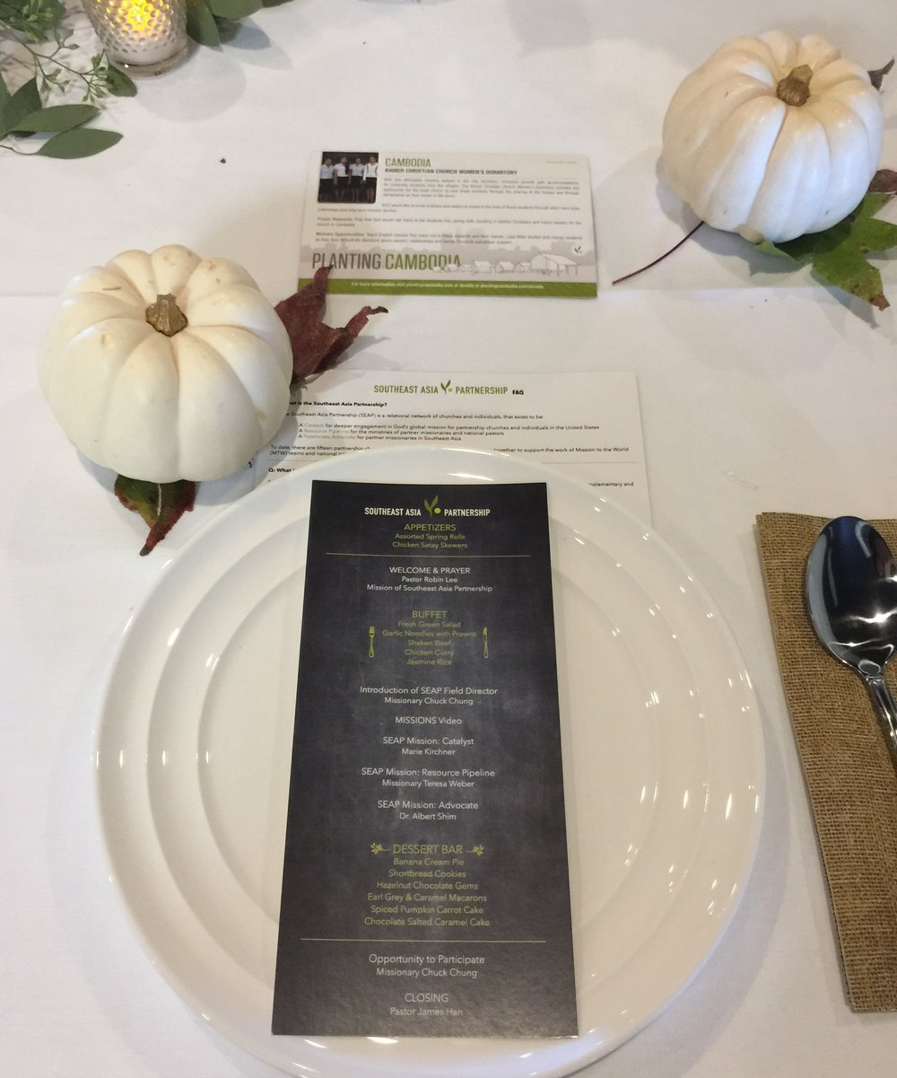 The custom menus and information cards of projects from each country represented added a personal touch to the the table settings.