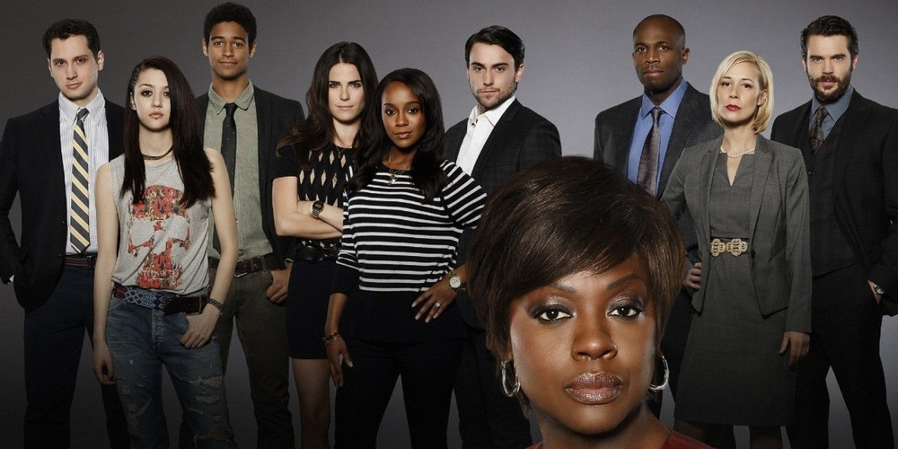 Viola Davis as Annalise Keating, Aja Naomi King as Michaela Pratt, Alfred Enoch as Wes Gibbons and Billy Brown as Nate Leahy.