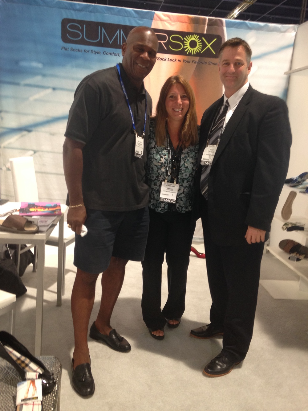 The best times... at FN Platform show in Las Vegas with form NFL linebacker Gary Weaver and former Minor League Baseball Pitcher Roy Ellis.  It was such a pleasure meeting and spending time with them. And most importantly - they got their SummerSox!