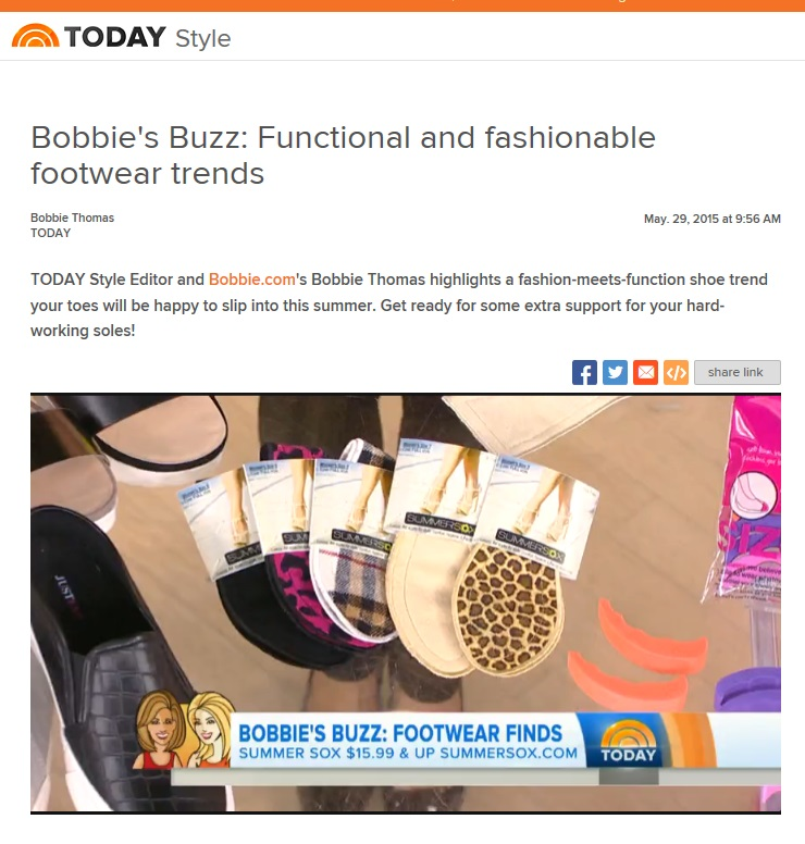 Exciting News!  SummerSox was hand picked by TODAY Style Editor and Bobbie.com's Bobbie Thomas to be featured as part of her Bobbie's Buzz segment on fabulous and functional summer footwear finds on TODAY with Kathie Lee & Hoda.  We LOVE Bobbie's Buzz and were honored to have SummerSox included with all the great style tips and fashion finds Bobbie brings to the world.