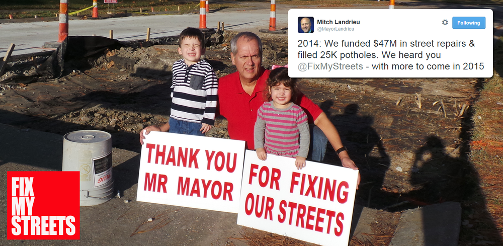 2014 = the year that the city of New Orleans officially acknowledgedit had a major street repair issue... 2015 = the year of action!