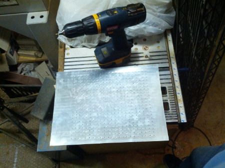 Current state of the platen; 126 holes to go...tomorrow.