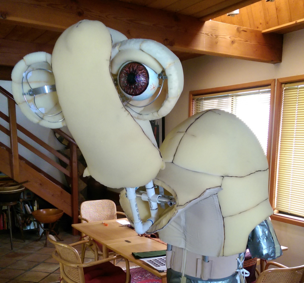 Foam head structure wrapped around the eye mechanism