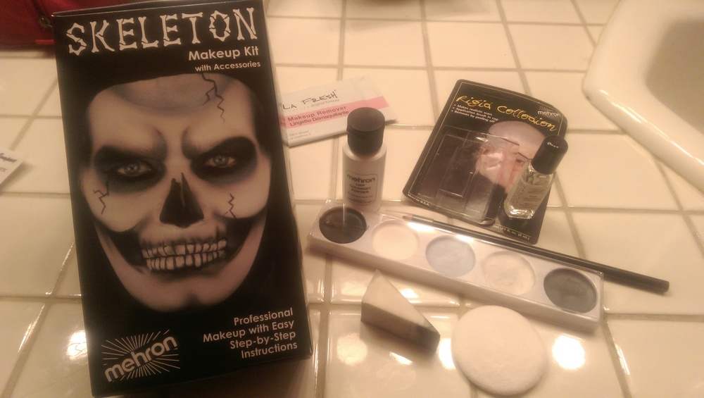 The items in the skeleton makeup kit along with the collodion I bought separately for creating scar effects.