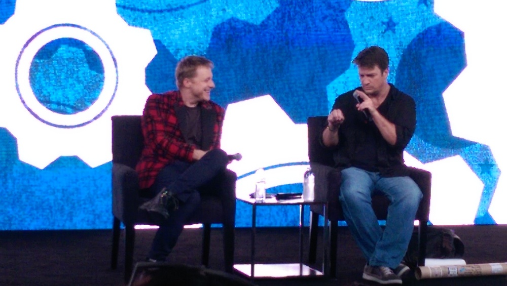 Nathan Fillion and Alan Tudyk at Nerd HQ's Conversation for a Cause.