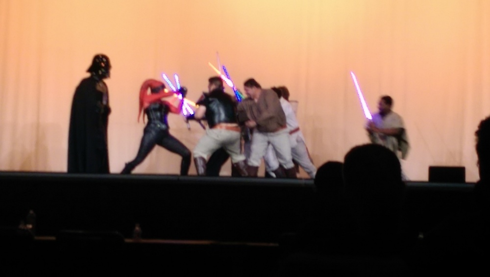 The Saber Guild's show during the Masquerade's judging break.