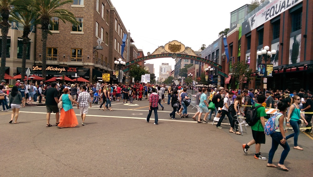A fairly quiet Sunday morning in the Gaslamp District. Normally this intersection is packed with people.