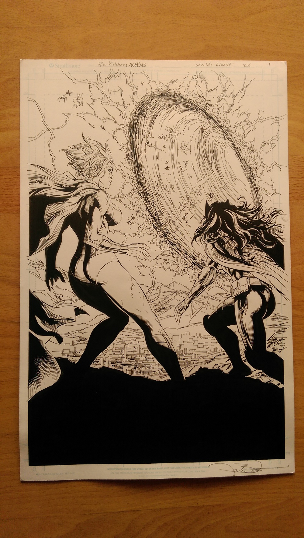 Original page from World's Finest, issue #26, Page 1. Drawn by Tyler Kirkham, inked by Joe Weems