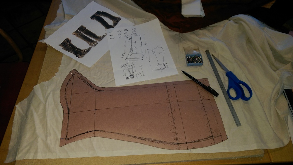 Measurements and calculations drawn out on construction paper, then cut out and transferred to muslin for a prototype build.