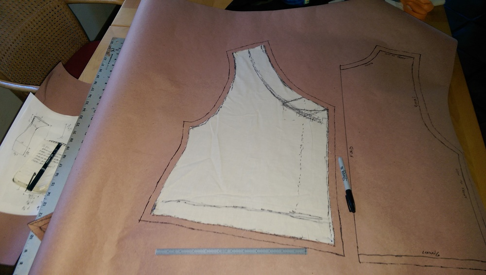 Making the paper pattern from the muslin pieces