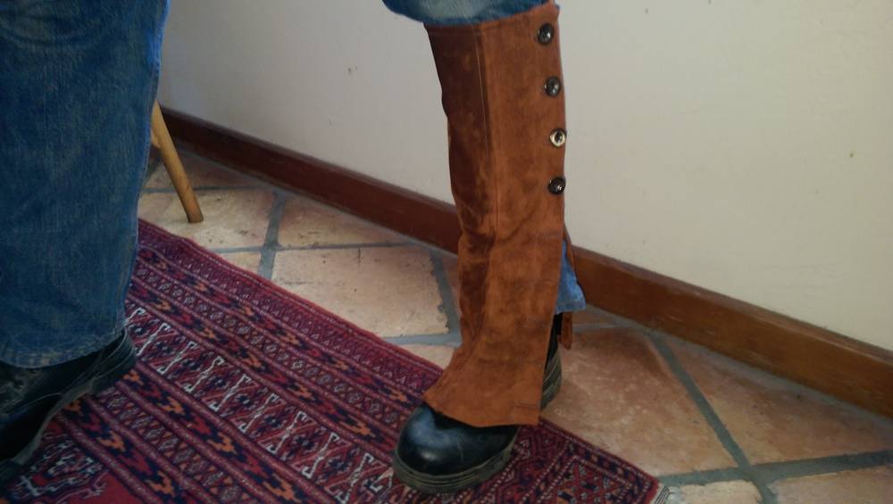 The other side, showing the buttons, but still missing the buckle and belt under the boot