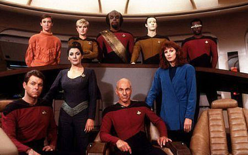 Cast from the first season of  Star Trek: The Next Generation