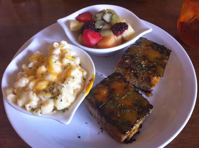 Potato Chip Meatloaf with Peach BBQ Sauce