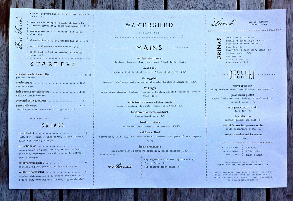 Watershed menu