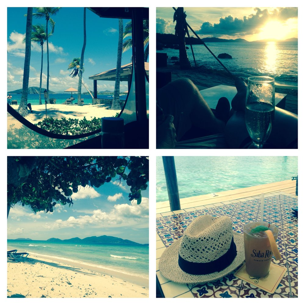 From top left: Peter Island's beach cafe; sunset at Coco Maya on Virgin Gorda; Sunbathing on Tortola; drinks at Saba Rock.