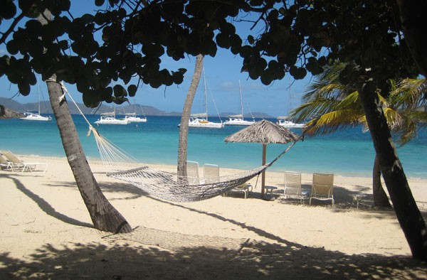 The guests' beach at Peter Island resort