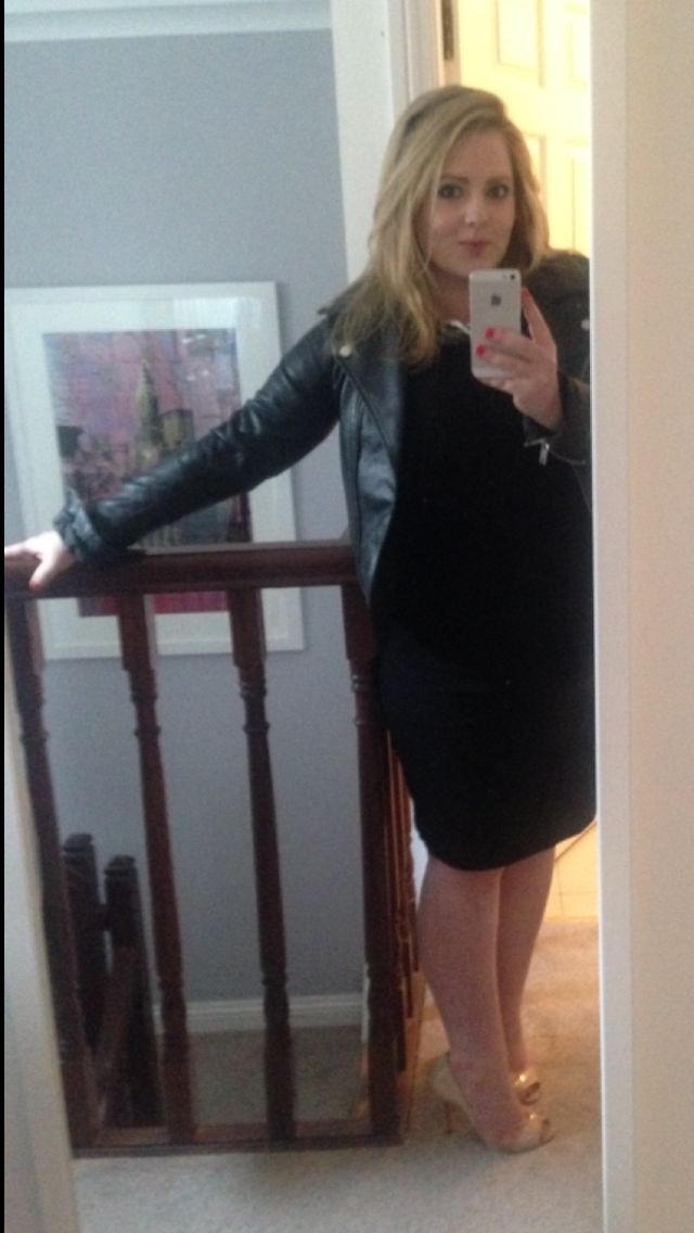 Blurry preggo selfie! Look at my fingers! They were like sausages. I was about 8 months along and I was like a tank. But I still shoe horned myself into those nude Louboutins and squeezed into a leather jacket. I got some funny looks but I felt very Kimmy K!