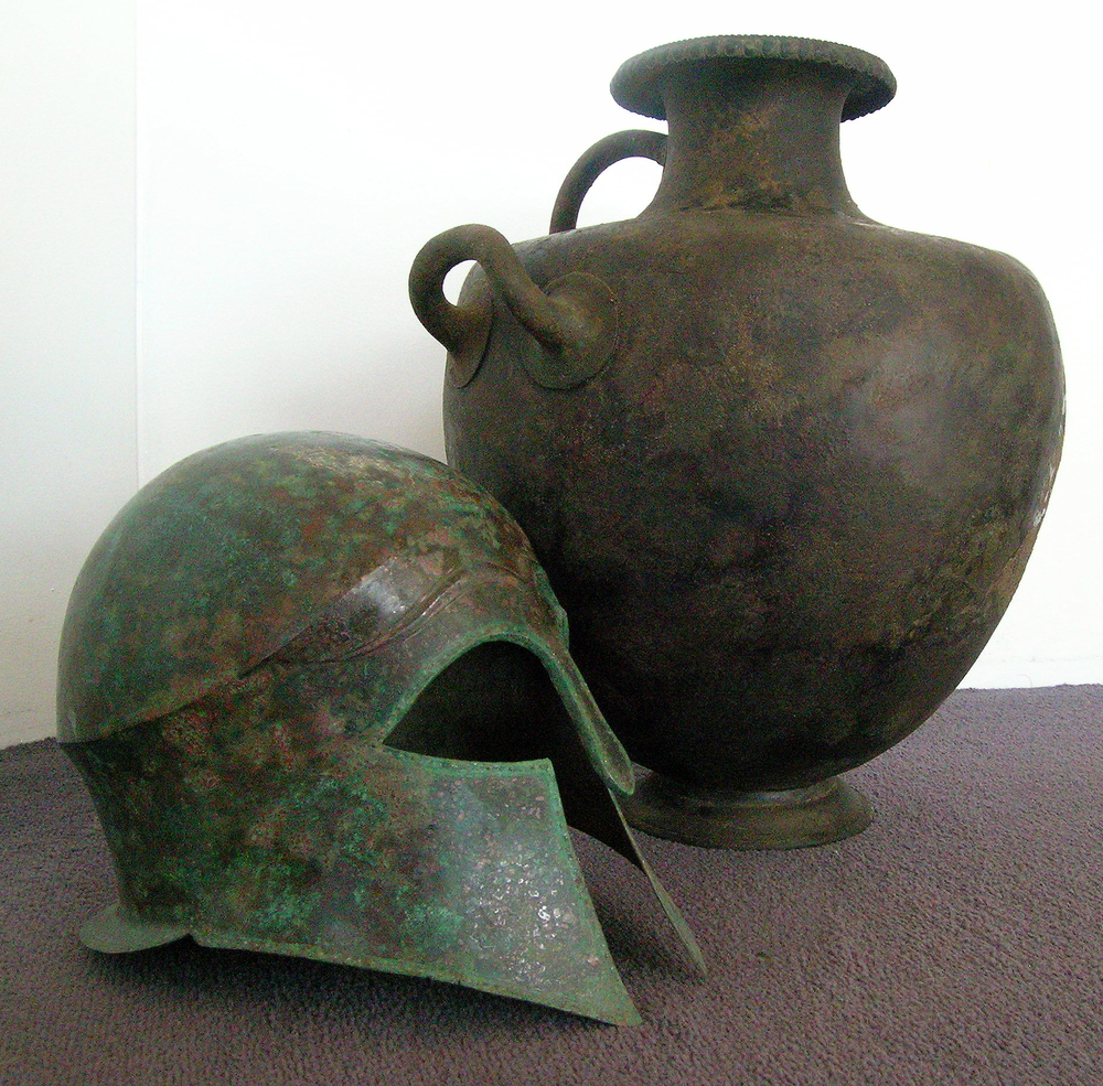 5th century Greek Helmet and Hydria.