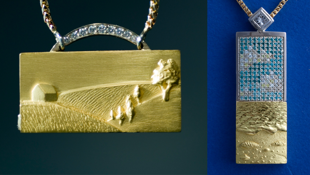 Gold Landscape and seascape with footprint and diamond sky.