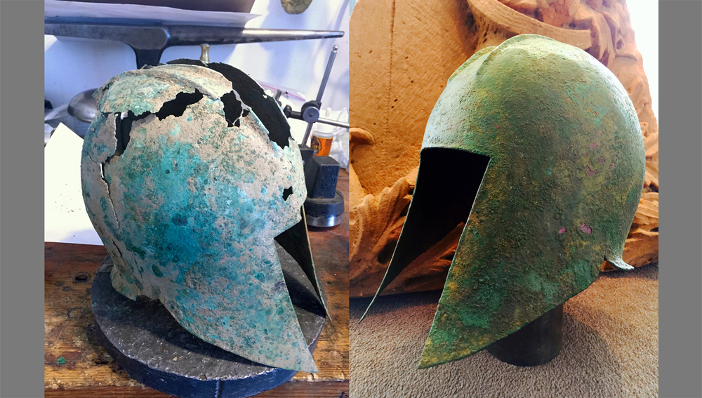 6th century B.C. Illirian helmet. This helmet was ninety seven percent complete but required stabilization and restoration to bring it to museum quality.