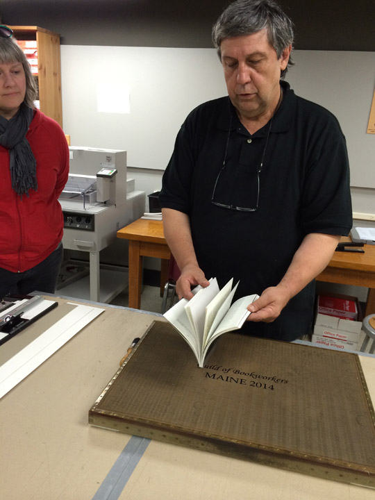 Bernie Vinzani showing us the books the his students put together, The Wreck of the Nottingham Galley.