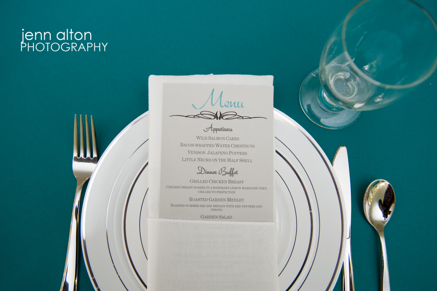 Menu card in teal/aqua theme with plate setting for Cape Cod Wedding