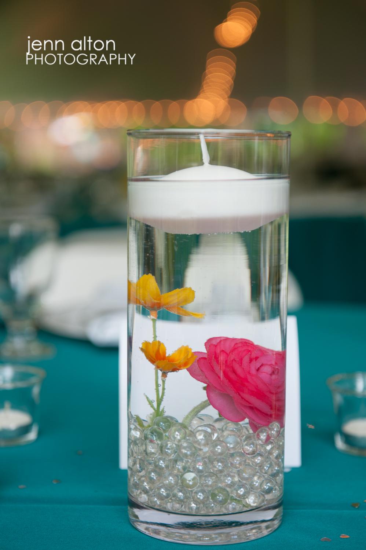 Teal/aqua center pieces for Cape Cod Wedding