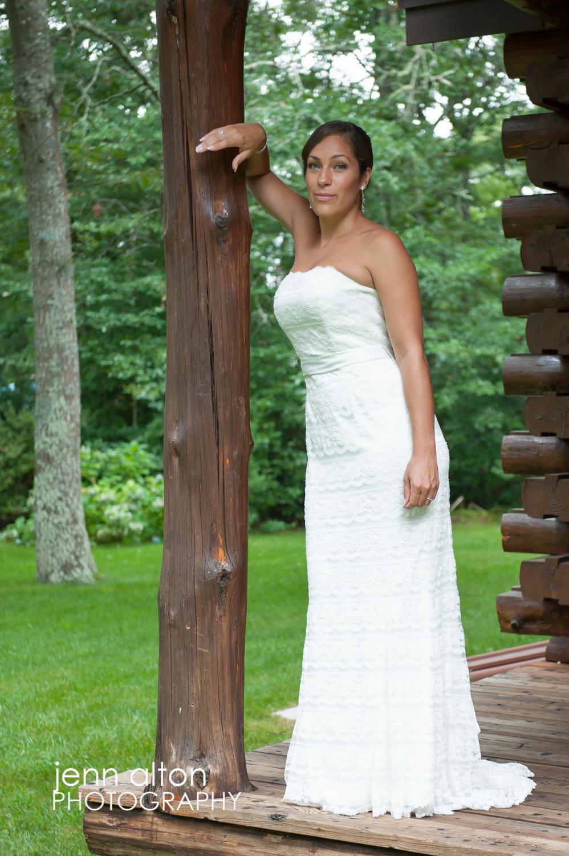 Bride portrait in wedding gown before wedding, cape cod wedding