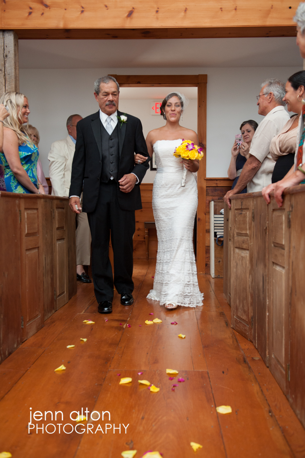 Bride being walked down the aisle by her Father, entry to the wedding ceremony, Mashpee Old Indian Meeting House