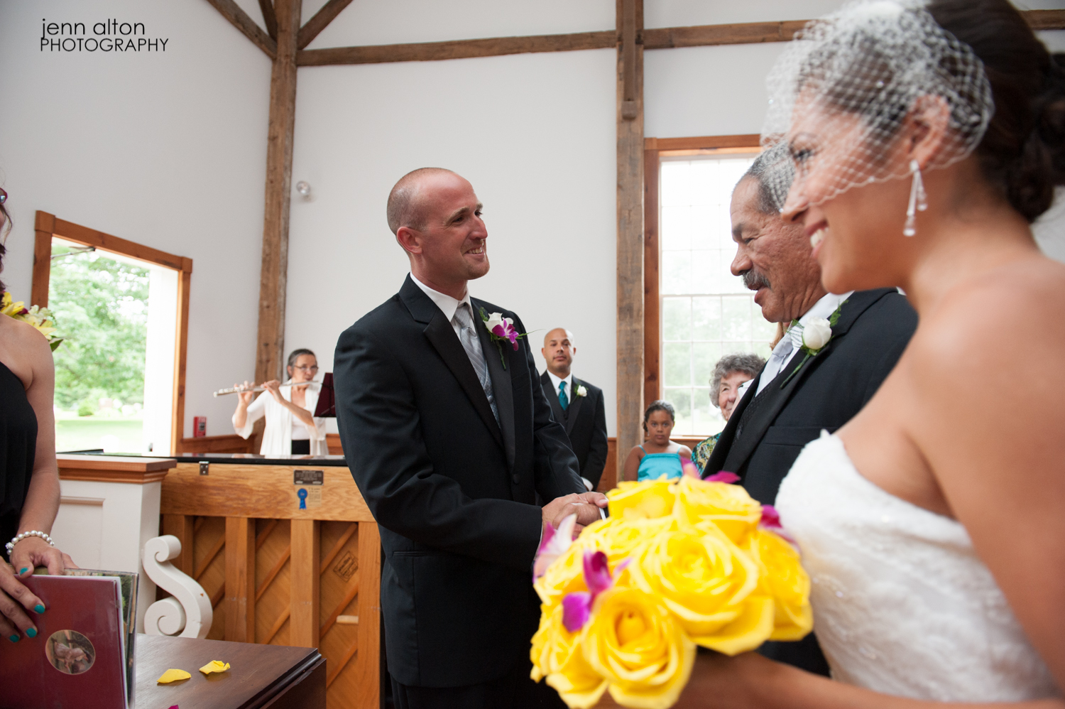 Bride being given away by her Father, entry to the wedding ceremony, Mashpee Old Indian Meeting House
