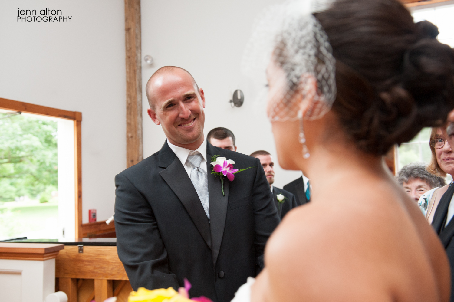 Groom's reaction to bride's entry to the wedding ceremony, Mashpee Old Indian Meeting House